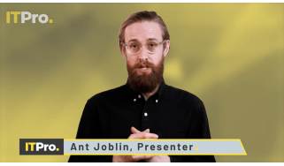 Ant Joblin, presenter of IT Pro News in Review, in front of a yellow background