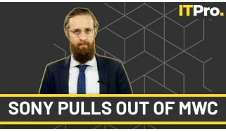 """A head and shoulders shot of presenter Ant Joblin on a charcoal background with the banner """"Sony pulls out of MWC"""" across the bottom of the image"""