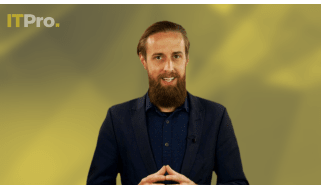 Presenter Ant Joblin on a yellow background talking to the camera