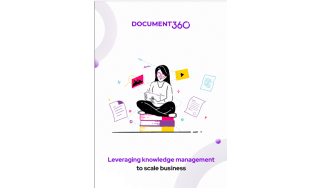 Woman sits on a stack of books with pages floating around her - Leveraging knowledge management to scale business - whitepaper from Document 360