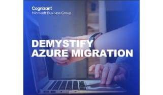 Person points at a laptop - Demystify Azure migration - whitepaper from Cognizant