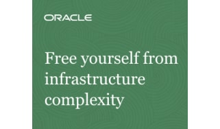 Free yourself from infrastructure complexity - white words against a green background - whitepaper from Oracle