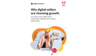 Woman on laptop in a colourful bubble - whitepaper from Adobe