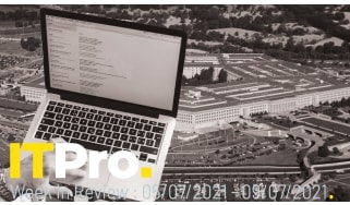A montage of someone using a laptop overlaid on an aerial view of the Pentagon