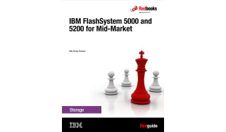 Chess pieces with three white pawns and one red king piece - whitepaper from IBM