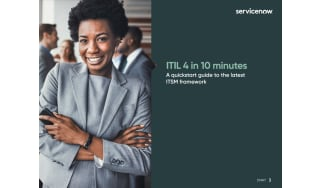 Smiling businesswoman holding phone - whitepaper from ServiceNow