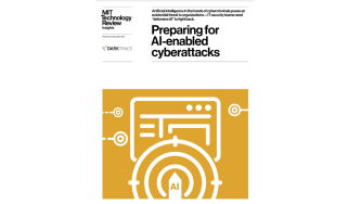 AI icon against a laptop icon on a yellow background - whitepaper from Darktrace