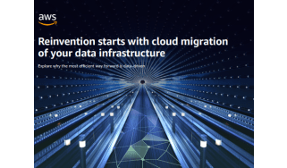 Rows of blue lights in a tunnel -whitepaper from AWS