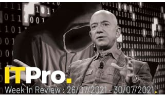 A montage of former Amazon CEO Jeff Bezos overlaid on and image of a faceless person wearing a hoodie