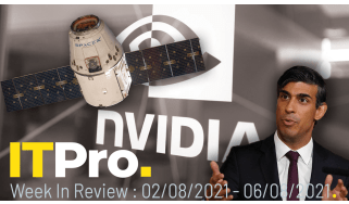 A montage of a Starlink satellite, Chancellor Rishi Sunak and the Nvidia logo