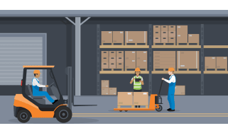 People working in a warehouse and one driving cart