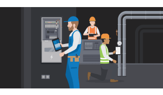 Workers fixing pipes and systems - whitepaper from Samsung