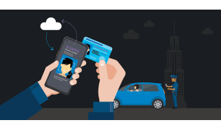 Policeperson tapping ID to phone with car in the background - whitepaper from Samsung
