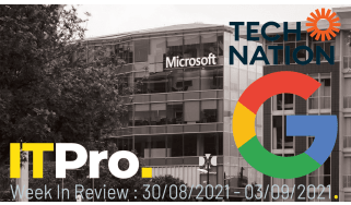 The Google and Tech Nation logos overlaid on a picture of Microsoft's HQ