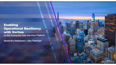 A cityscape background against the water - Enabling operational resilience with Veritas