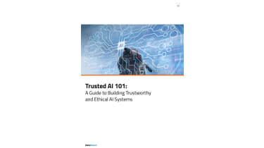 Hand with a pen touching the word AI - Trusted AI 101 - whitepaper from DataRobot