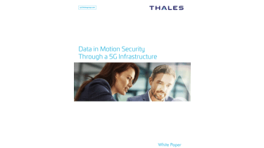 Data-in-motion security through a 5G infrastructure - Business man and woman standing together - whitepaper from Thales