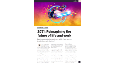 2031: Reimagining the future of life and work - A futuristic car flying through a yellow cloud with pink sky - The Business Briefing from IT Pro