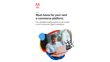 Man on a laptop in a colourful bubble - whitepaper from Adobe