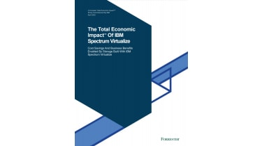 Blue shapes on white background - The Total Economic Impact™ of IBM Spectrum Virtualize - whitepaper from IBM