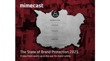 A log-in screen with a red background - whitepaper from Mimecast