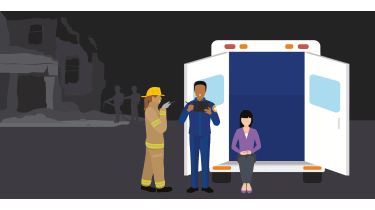 Fireman helping people at an ambulance - whitepaper from Samsung