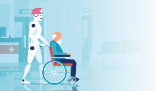 An illustration of a smiling robot healthcare worker pushing an elderly man in a wheelchair