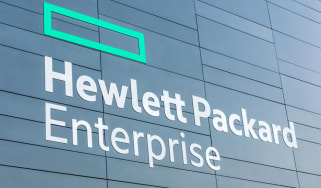 The Hewlett-Packard Enterprise (HPE) logo on the side of a building