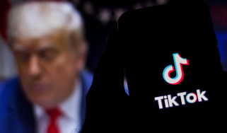 Trump in the background of the TikTok splash screen