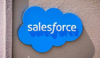Salesforce logo displayed on a wall