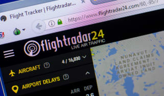 A photograph of the Flightradar24 website home page