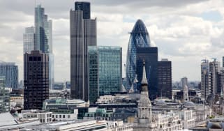 A skyline of the City of London's financial hub