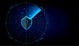 A shield with a keyhole on a radar system - cyber security - hacking