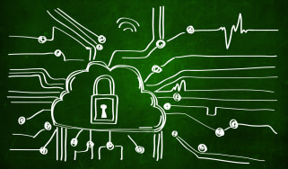 Drawing of a cloud with a padlock in the middle on a green background