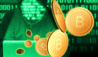 Hacker in green extorting Bitcoin
