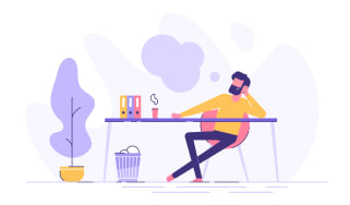An illustration of a man sitting at his desk thinking