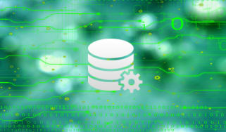 Abstract image of stacked white discs on a green background to symbolise a database