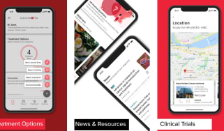 Screenshots of outcome4me app on a red and white background
