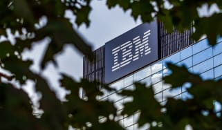 IBM's headquarters, seen through a bush