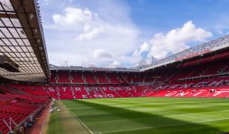 Wide shot of Old Trafford, the stadium of Man Utd Football Club