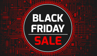 Black Friday sale sign with a circuit board background