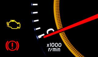 Check engine light on a tachometer