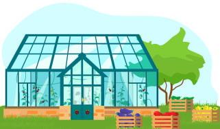An illustration of a greenhouse with Raspberry Pi logos on the door and hanging from vines inside