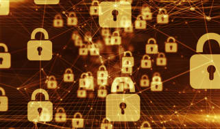 A secure network depicted by connected padlocks