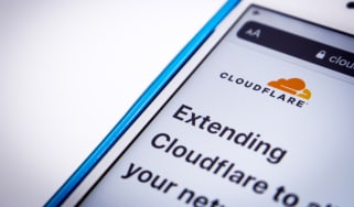 The logo of Cloudflare in its website on iOS viewed in privacy mode