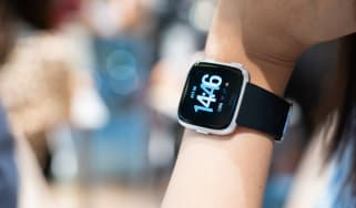 View of Fitbit Versa on a woman's wrist