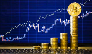 Financial growth concept with golden Bitcoins ladder on forex chart background