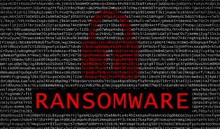 Abstract image of a padlock above a large ransomware sign to symbolise cyber security