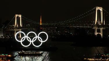 Olympic Rings in front of Odaiba Rainbow Bridge