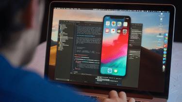 Developer launching iPhone software on a Mac